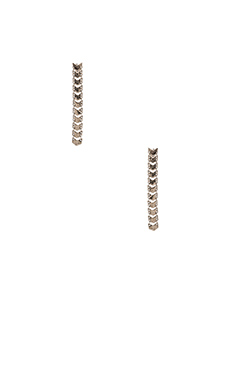 House of Harlow Chevron Ladder Earrings in Silver