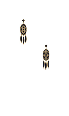 House of Harlow Howl Feather Earrings in Gold & Navy