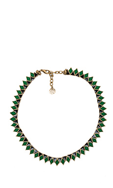 House of Harlow Wren Feather Collar in Gold & Malachite