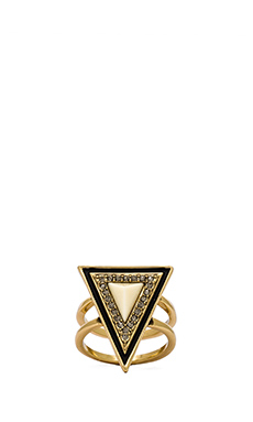 House of Harlow Teepee Triangle Ring in Gold & Ivory