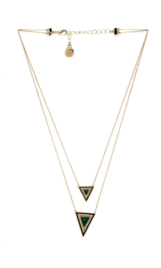 House of Harlow Teepee Triangle Necklace in Gold & Malachite