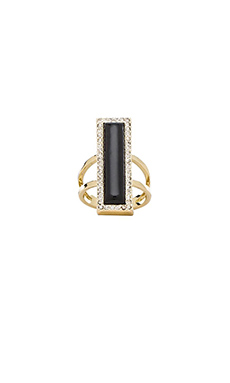 House of Harlow Illuminating Rectangle Ring in Black