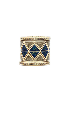 House of Harlow Reflector Ring Stack in Lapis & Pyrite