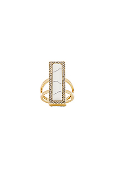 House of Harlow Reflector Bar Ring in Howlite