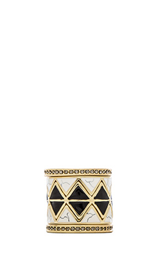 House of Harlow Reflector Ring Stack in Black & Howlite