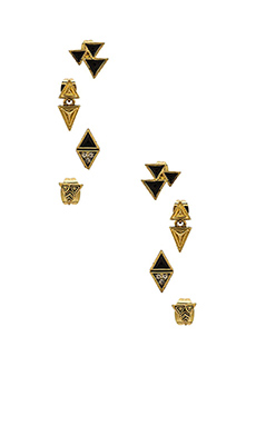 House of Harlow Tessellation Stud Earring Set in Gold & Black