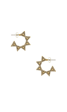 House of Harlow Geodesic Triangle Hoop Earring in Gold