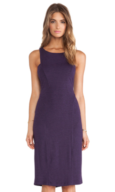 Heather Seamed Midi Dress in Heather Eggplant