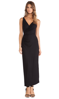 Heather Surplice Knot Midi Dress in Black