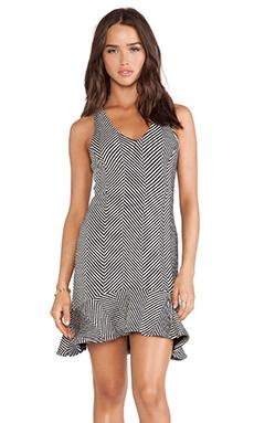 Heather Chevron Flounce Dress in Black & White