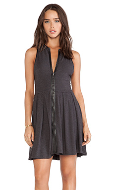 Heather Zip Front Skater Dress in Heather Black