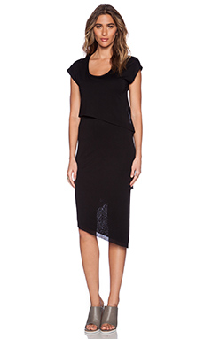 Heather Asymmetrical Tier Dress in Black