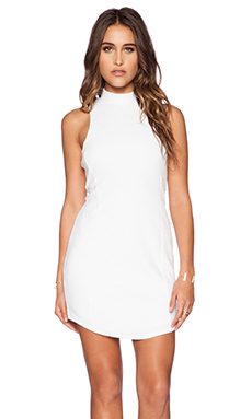 Heather Bubble Knit Zip Back Dress in White