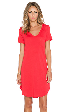 Heather V Neck Pocket Tee Dress in Cherry