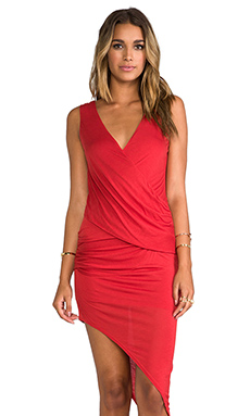 Heather Asymmetrical Surplice Dress in Persimmon