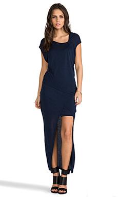 Heather Asymmetrical Double Drape Dress in Heather Midnight