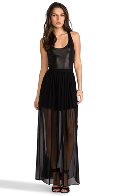 Heather Shimmer Maxi Dress in Black