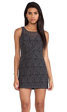 Heather Lace Mini Dress in Dark Slate