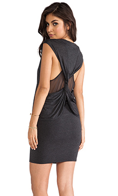 Heather Silk Twisted Back Dress in Heather Black