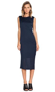 Heather Asymmetrical Drape Midi Dress in Onyx