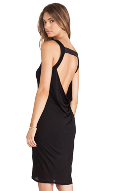 Heather Cowl Back Leather Strap Dress in Black