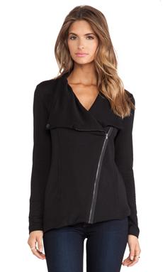 Heather Fleece Funnel Jacket in Black