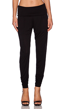 Heather Foldover Pant in Black