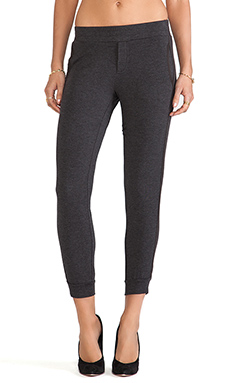 Heather Silk Trimmed Pant in Heather Black