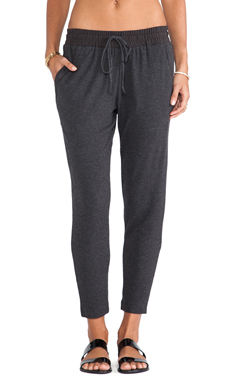 Heather Silk Piping Pant in Heather Black