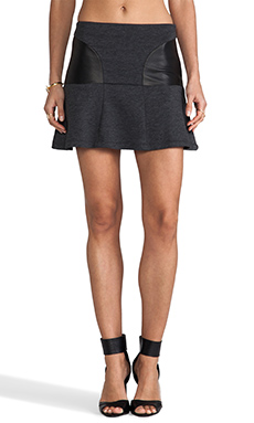 Heather Leather Panel Skirt in Heather Charcoal