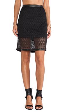 Heather Leather Trim Zip Back Skirt in Black