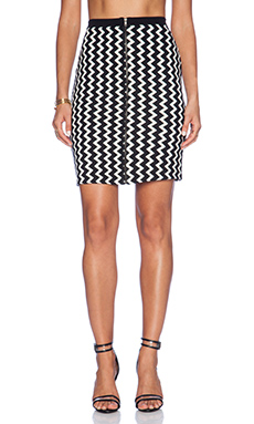 Heather Pencil Skirt in Black & Ivory