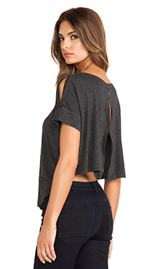 Heather Open Back Zip Tee in Heather Black
