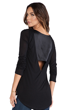 Heather Silk V Back Top in Black