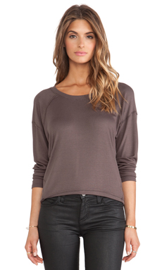 Heather Silk Back Cut Out Top in Cacao