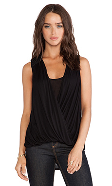 Heather Lace Trim Twist Top in Black