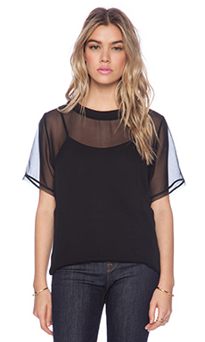Heather Boxy Leather Tee in Black