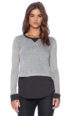 Heather Colorblock Long Sleeve Top in Light Heather & Heather Black