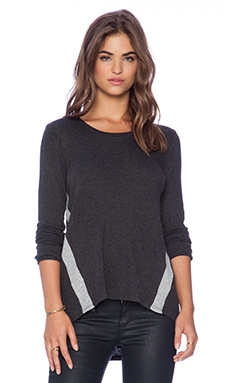 Heather Long Sleeve Top in Heather Black & Light Heather Grey