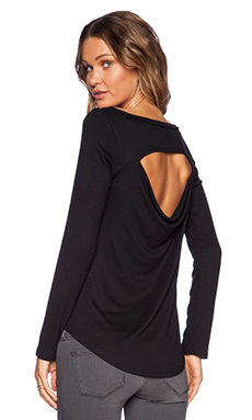 Heather Peekaboo Back Top in Black