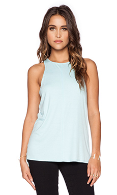 Heather Slit Back Rib Tank in Sky