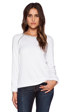 Heather Long Sleeve Raglan Top in White & Light Heather Grey