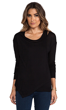 Heather Long Sleeve Cut Out Tee in Black