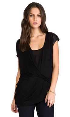 Heather Surplice Tuck Top in Black