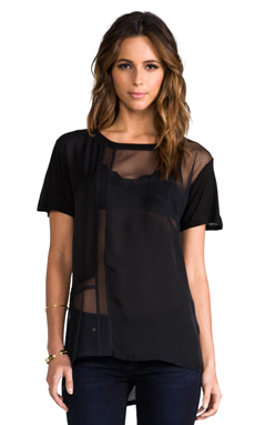 Heather Silk Collage Front Tee in Black