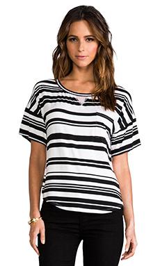Heather Silk Back Stripe Tee in Black & White