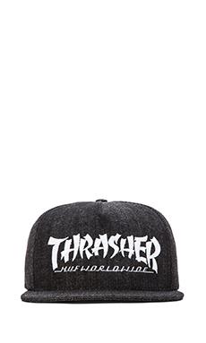 Huf x Thrasher Asia Tour Snapback in Black Denim