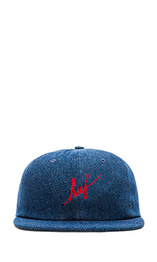 Huf Denim Script 6 Panel Hat in Indigo