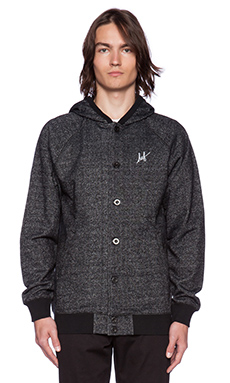 Huf Script Script Cadet Button Up Hoodie in Black