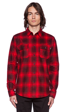 Huf Freeman Flannel Button Down in Red